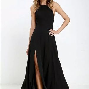 NBD x The Naven Twins Black Evening Halter Gown